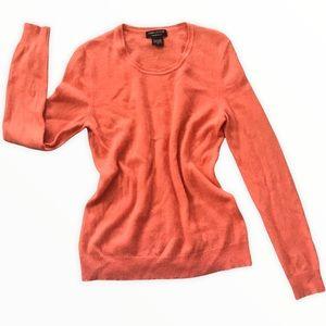 LORD&TAYLOR Cashmere Crewneck Peach Orange Sweater